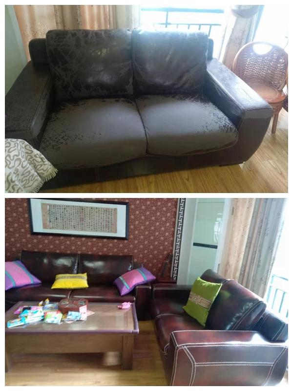 沙发翻新前后